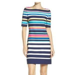 Eliza J Dresses - Eliza J Rainbow Colored Striped Sheath Dress